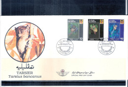 FDC Brunei - Animaux - Le Tarsier - Série Complète (à Voir) - Brunei (1984-...)