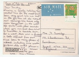 1994 AUSTRALIA COVER Stamps $1 CHRISTMAS To GB (postcard Kangaroo) - 1990-99 Elizabeth II