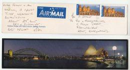 Air Mail  AUSTRALIA COVER Stamps 2x 50c International Post To GB  (Postcard Harbour Bridge Sydney Opera House) - 2000-09 Elizabeth II