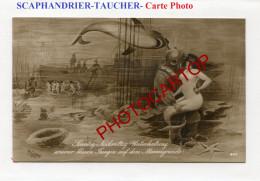 Dessin-SCAPHANDRIER-TAUCHER-Meerjungfrau-Femme Poisson-Requin-HAI-Metier-Berufe-Carte Photo Allemande- - Profesiones