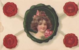 Face Of Brunette Little Girl On An Envelope, Four Seals, Shamrock, Horseshoe, Mushroom & Lady Bug, Pink Rose, 00-10s - Enfants