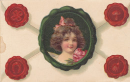 Face Of Brunette Little Girl On An Envelope, Four Seals, Shamrock, Horseshoe, Mushroom & Lady Bug, Pink Rose, 00-10s - Children