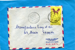 MARCOPHILIE-lettre RCA >Françe Cad NDELE  1969- Stamp N°A71 PAPILLON--Butterfly-eustera - Central African Republic