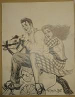 Dessin Au Crayon-Illustrateur -Jeune Couple Sur Un Cheval De Bois (6) - Drawings