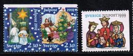 Schweden 1991/99, Michel# 1692 - 1693 + 2149 O Julpost 1991 + 1999 - Sweden