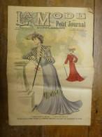 1901 La MODE Du Petit Journal ELEGANTE TOILETTE DE DEMI-DEUIL ,TOILETTE POUR JEUNE FILLE Grav Couleurs  D-page Et Une - Habits & Linge D'époque