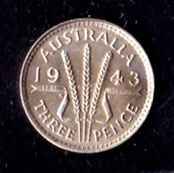 Australia 1943 Threepence AUNC - Sterling Coinage (1910-1965)