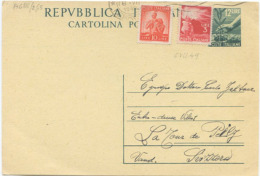 1949 CARTOLINA POSTALE L.12 + DEMOCRATICA L.3+10 PER SVIZZERA 6.7.49 INTERESSANTE USO PER ESTERO E OTTIMA QUALITÀ (A688) - 1946-60: Storia Postale