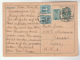 1933 AUSTRIA 12g 2x 4g Stamps UPRATED 12g Postal STATIONERY CARD  To USA Cover - Stamped Stationery