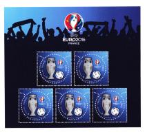 Bloc Euro2016, Vernis 3D Et Perforation Etoile, Paris-Philex, Football, - Neufs