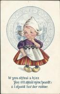 Bamforth & Co. ´Dutch Kids´ Postcard No. 208 ´Iv You Shteal A Kizz ...´ - Used - W282 - Cartoline Umoristiche