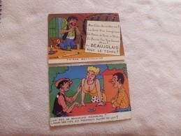 2 CARTES BEAUJOLAIS ...SIGNE DUFOUR - Autres Illustrateurs