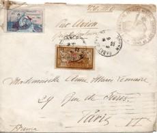 Jolie Lettre Par Avion Pour Paris 29 Rue De Sevres Cachet Du Service De La Correspondance Et Du Chiffre En1922 - Lettres & Documents