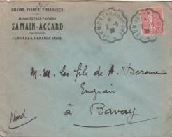 SEMEUSE 50C SUR ENV COM CONVOYEUR JEUMONT A MAUBEUGE 2/6/30  POUR BAVAY       TDA109 - Postmark Collection (Covers)