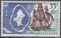 Wallis & Futuna 1955 Yvert Poste Aérienne 17 Neuf ** Cote (2015) 8.50 Euro Carte De îles Et Voilier - Poste Aérienne