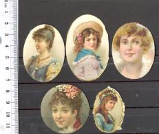 1093 - Lot De 5 Miniatures Sur Papier - Epoque : Fin 19 ème Siècle - Personnages