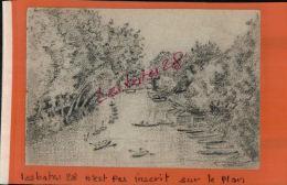 Feuille Detachée D'un  Carnet De Voyage, Dessin Ballade En Rivière   Début 1900  à Identifier    Avr 2016 301 - Dibujos