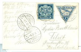 1925 Latvia Riga Waterfront Pc Used Majori Barred Cds Postmarks To Germany. Great Seal 2L & 20R Triangular Air - Latvia