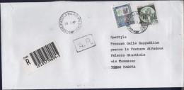 Alti Valori £. 5.000 + Castelli £. 600 Su Raccomandata Con Annullo Piazzola Sul Brenta (Padova) 29.07.1997 - 6. 1946-.. Repubblica