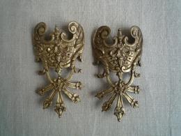 Deux Ornements Meuble Ancien Commode Tombeau Bronze Style Louis XV Régence. Voir Photos. - Mobili