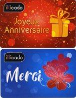 @+ Carte Cadeau : Lot De 2 Cartes Illicado Merci Et Joyeux Anniversaire (France)