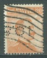 ITALIA 1917-20: Sassone 109 / YT 105 / Mi 129, PERFIN, O - FREE SHIPPING ABOVE 10 EURO - Usados