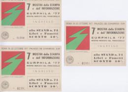 Eurphila 1977 - 3 Biglietti Ingresso - Biglietti D'ingresso