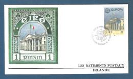 IRLANDA-1990- 2 Valori Emissione EUROPA Su 2 Buste FDC NUMISMATIQUE FRANCAISE- EDIFICI POSTALI -in Ottime Condizioni. - FDC