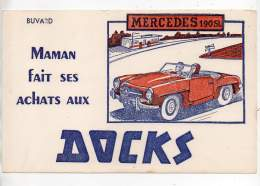 Buvard - Maman Fait Ses Achats Aux Docks - Mercedes 190 SL - Buvards, Protège-cahiers Illustrés