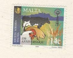 1994 MALTA COVER ( Postcard) Stamsp PIG CHICKEN COW Bird To GB - Farm