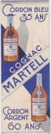 Cpa/vieux Papiers- Pub- Marque Page-cognac Martell Cordon Bleu 35 Ans/cordon D'argent 60 Ans - Publicité