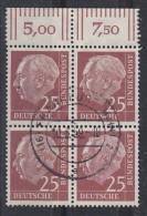 Bund Minr.186 OR 4er Block Gestempelt - BRD
