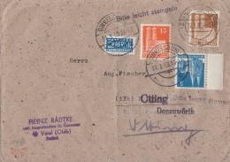 Bauten Brief Mif Minr.75wg SR, 81wg, 74eg Dinkelsbühl 31.3.50 - Bizone