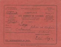 CARTE ASSISTANCE AUX FEMMES EN COUCHES DEPT HAUTE GARONNE CALMONT 1920     TDA109 - Organizations