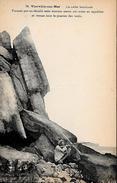 CARTE POSTALE ORIGINALE ANCIENNE : VIERVILLE SUR MER ; LA ROCHE BRANLANTE ; ANIMEE ; CALVADOS (14) - Frankreich
