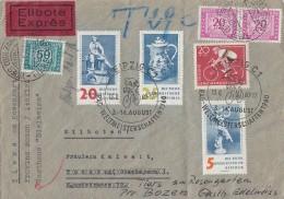 DDR Brief Eilbote Mif Minr.774,777,778,779 SST Leipzig 13.8.60 Ital. Nachggebühr Ansehen !!!!!!!!! - DDR