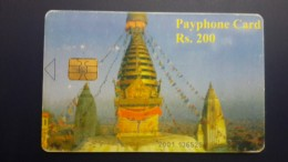 Nepal-nep-tele-02b-temple 2-(rs.200)-used Card+1card Prepiad Free - Nepal