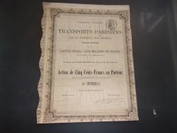 TRANSPORTS PARISIENS Par Le Materiel Des Omnibus (1876) - Actions & Titres