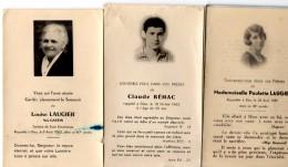 64Mb  Lot De 3 Faire Part De Decés De La Meme Famille - Obituary Notices