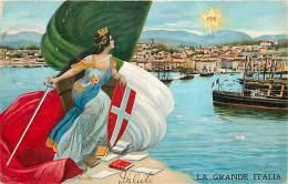 MILITARI. LA GRANDE ITALIA. BELLA ILLUSTRAZIONE ALLEGORICA PATRIOTTICA. VIAGGIATA 1915 - Patriottiche