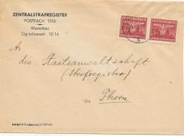 WARSCHAU  - 1943 , Zentralstrafregister Nach Thorn   -  Big Letter, Dispatch = 4,20 EURO - Occupation 1938-45