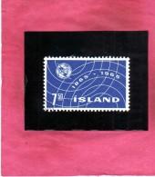 ISLANDA ICELAND ISLANDE 1965 ITU UIT CENTENARY CENTENARIO. Kr 7.50 7.50k USATO USED OBLITERE' - 1944-... Republik