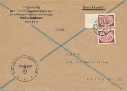 KRAKAU  - 1942 , Dienstbrief Des Generalgouvernement  Nach Berlin   -  Big Letter, Dispatch = 4,20 EURO - Besetzungen 1938-45