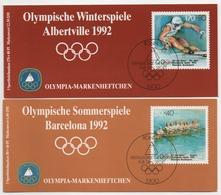 2 Sporthilfe Markenheftchen ESSt Bonn 1992 Je 5x MiNr.1593;1595 MNH  Olympische Spiele Booklets FDC With 5 Stamps - MNH - [7] République Fédérale
