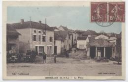 71 CRUZILLES -LA PLACE VOITURES  --RECTO/VERSO-C44 - France