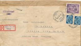 LESKO  - 1943,  R-Paketaufkleber  Vom Steueramt Nach Krakau     -  Big Letter, Dispatch  = 4,20 EURO - Besetzungen 1938-45