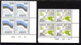 ESTONIA 1991 State Flag Map 4block MNH Michel: 174-175 #2517 - Estonie
