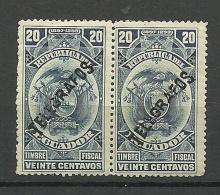 ECUADOR 1897/98 Telegrafos OPT Telegraph Stamp In Pair MNH - Equateur