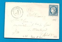 Seine Et Oise - LOUVRES Pour MONTARGIS (Loiret) - GC + CàD Type 17 - 1849-1876: Période Classique