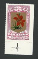 B37-44 CANADA Saskatchewan Law Bileski Overprint 6 MNH Lily 1905 - Local, Strike, Seals & Cinderellas
